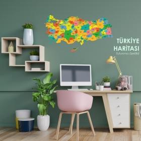 Ozel Baski Renkli Turkiye Haritasi