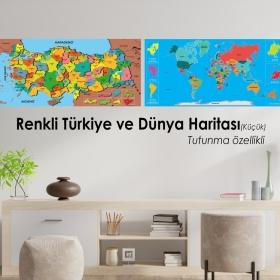 Renkli Turkiye ve Dunya Haritasi Set